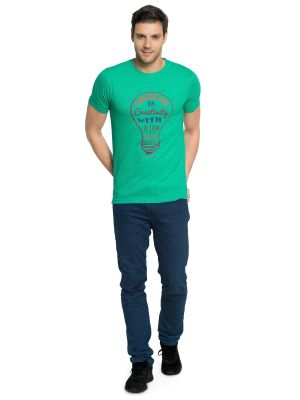 Buy Zorchee Men's Round Neck Half Sleeve Cotton T-shirts - Green (zo11) online