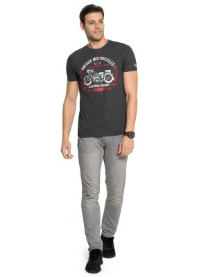 Buy Zorchee Men's Round Neck Half Sleeve Poly-cotton T-shirts - Charcoal Melange (zo2) online