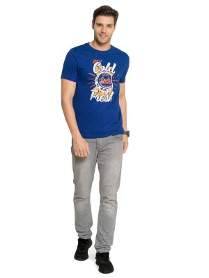 Buy Zorchee Men's Round Neck Half Sleeve Cotton T-shirts - Royal Blue (zo20) online