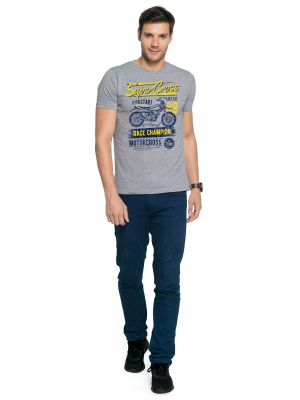 Buy Zorchee Men's Round Neck Half Sleeves Printed Grey Melange Poly-Cotton T-Shirts online