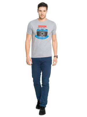 Buy Zorchee Men's Round Neck Half Sleeve Poly-cotton T-shirts - Gray Melange (zo5) online