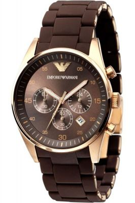 Buy Armani Round Brown Rubber Watch For Men online