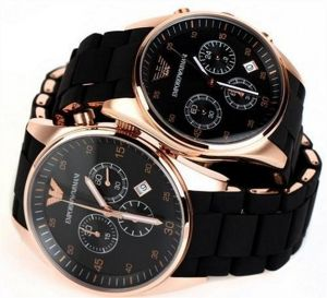 Buy I Emporio Armani Couple Black Chronograph Watches online