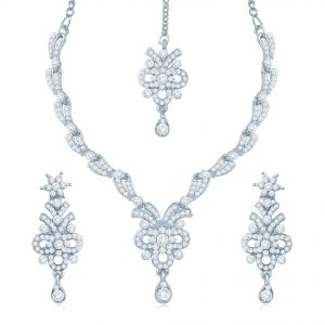Buy Sukkhi Glistening Rhodium Plated Australian Diamond Stone Studded Necklace Set online