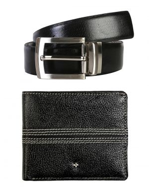 Buy Jl Collections 6 Card Slots Navy Blue Men's Leather Wallet & Belt (pack Of 2) online
