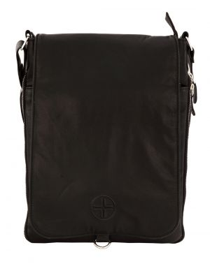 Buy Jl Collections Unisex Leather Black Shoulder Expandable Big Sling Bag With Flap Closure online