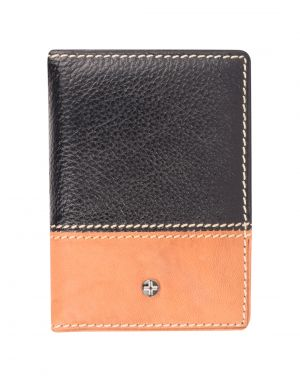 Buy Jl Collections Black And Camel Unisex Leather Card Holder online