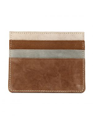 Buy Jl Collections 3 Card Slots Brown Color Unisex Leather Card Holder online
