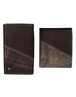 Buy Jl Collections 8 Card Slots Brown Men's & Women's Leather Wallet (pack Of 2) online