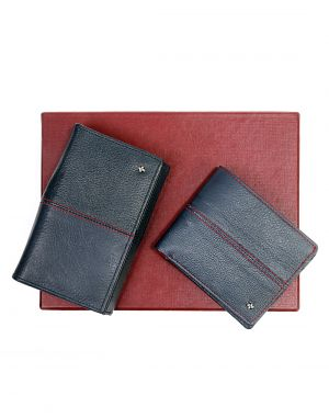 Buy Jl Collections Blue & Red Men's & Women's Leather Wallet Gift Sets (pack Of 2) online