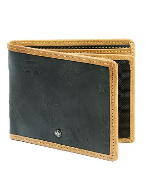 Buy Jl Collections 6 Card Slots Men's Black And Beige Leather Wallet online