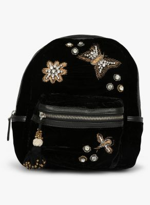 Buy Jl Collections Velvet Black Butterfly Patch Design Embroidery & Stone Fancy Backpack For Girls online