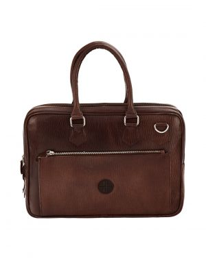 Buy Jl Collections Brown Leather Laptop Executive Messenger Bag For Unisex online