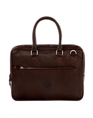 Buy Jl Collections Dark Brown Leather Laptop Executive Messenger Bag For Unisex online