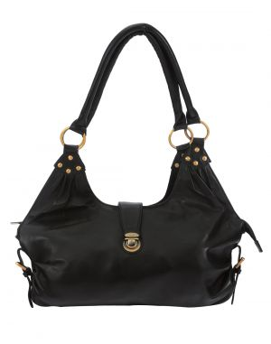Buy Jl Collections Women's Leather Black Hobo Bag online