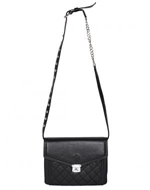 Buy Jl Collections Women's Leather Black Sling Bag online