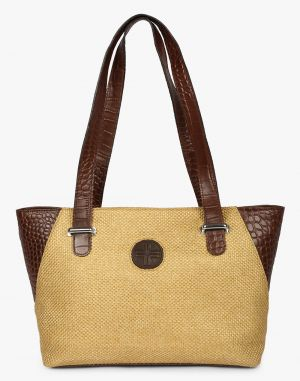 Buy JL Collections Women's Leather & Jute Beige and Brown Shoulder Bag online