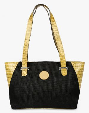 Buy JL Collections Women's Leather & Jute Black and Beige Shoulder Bag online