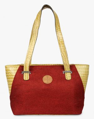 Buy JL Collections Women's Leather & Jute Red and Beige Shoulder Bag online