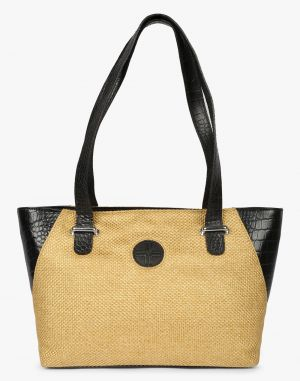 Buy JL Collections Women's Leather & Jute Brown and Beige Shoulder Bag online
