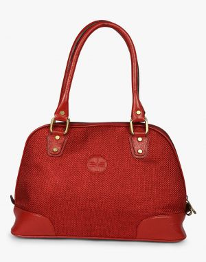 Buy JL Collections Women's Leather & Jute Red Shoulder Bag Red online