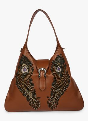 Buy Jl Collections Women's Leather Peacock Feather Embroidery Design Handbag online