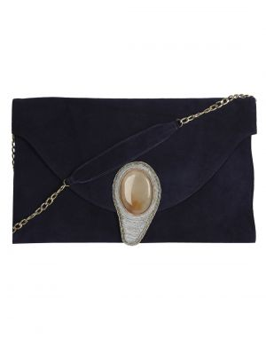 Buy Jl Collections Navy Blue Women's Leather Clutch online