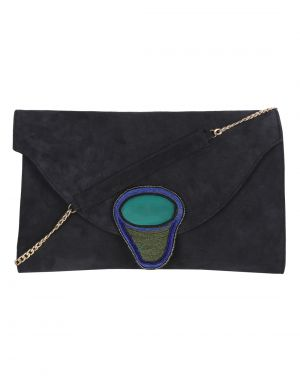 Buy Jl Collections Blue Women's Leather Clutch online