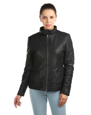 Buy Jl Collections Full Sleeve Solid Black And Blue Women's Reversible Jacket online