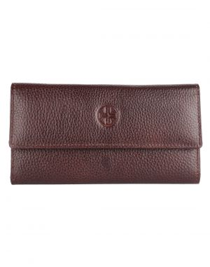 Buy Jl Collections Women's Leather Dark Brown Clutch online