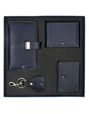 Buy Jl Collections Navy Blue Men's & Women's Leather Gift Sets (pack Of 4) online
