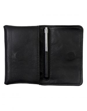 Buy Jl Collections Black Men's & Women's Leather Card Holder With Small Ball Pen Gift Sets (pack Of 2) online