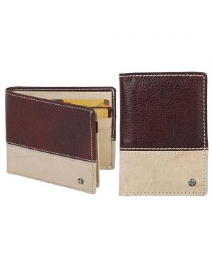 Buy Jlcollections 12 Card Slots Maroon & Beige Men's Leather Wallet And Card Holder Gift Sets (pack Of 2) online