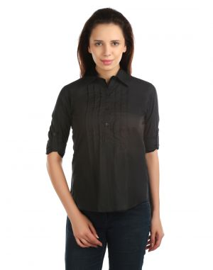 Buy Opus Roll-Up Sleeve 100% Cotton Formal Black Women'S Shirt online