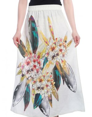 Buy Opus White Cotton Casual Floral Print Fusion Wear Women'S Skirt online