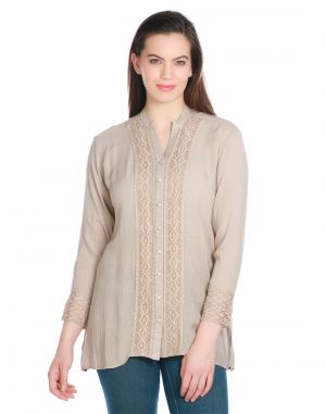 Buy Opus Brown Viscose Crepe Casual Solid Fusion Wear Women's Top (code - Tp_025_br) online