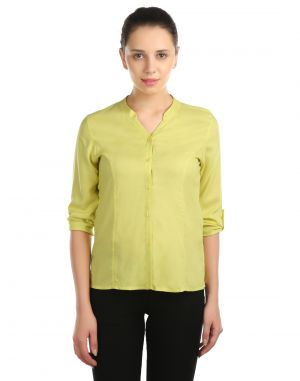 Buy Opus Roll-Up Sleeve Modal Casual Yellow Women'S Top online