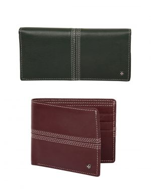 Buy Jl Collections Green & Burgundy Men's & Women's Leather Wallet Gift Sets (pack Of 2) online