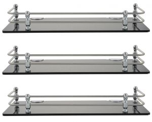 Buy Mercebull - 15x5 Inch Black Acrylic And Stainless Steel Framed Wall Shelf - Combo Of 3 online