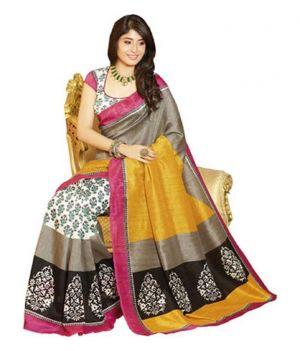 Buy Kia Fashions Maysur Yellow Silk Saree online