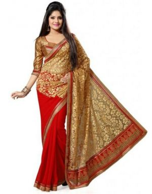 Buy Snv Fashion Red & Cream Georgette & Brasso Bollywood Saree With Lace Bordered - Swarg online