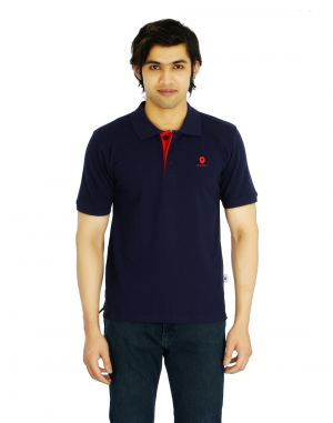 Buy Eupli Polo Neck Navy Blue Men T Shirts online