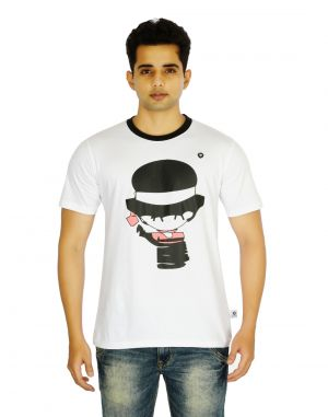 Buy Eupli Cotton Round Neck Printed White Men's T Shirts online