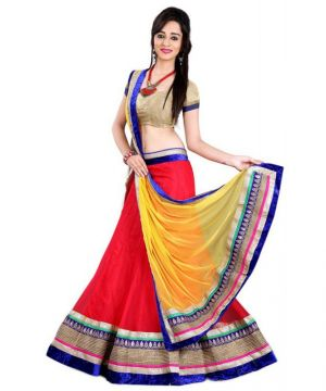 Buy Triveni Trendy Red Colored Border Worked Net Lehenga Choli online