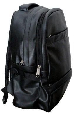 Buy Inindia School/college Office Pu Leather Backpack - Jet Black ( Shiny Finish) online