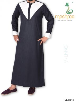 Buy Mashroo V Lining Navy Blue Suiting Thobe online