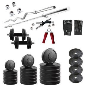 Buy Diamond Home Gym Of 22kg Weight With 3ft Curl 4ft Straight Bar & Accessories For Strength & Fitness online