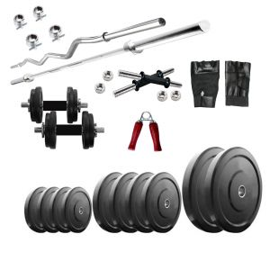 Buy Diamond Home Gym Combo Of 20kg Weight With 3ft Curl And 4ft Straight Rod For Muscle Workout online