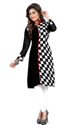 Buy Fabdiamond Women's Black Georgette Designer Kurtis (pin2_133) online