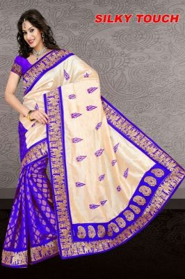 Buy Rasvilla Purple Cotton Saree With Blouse For Women - (product Code - RDS 192) online